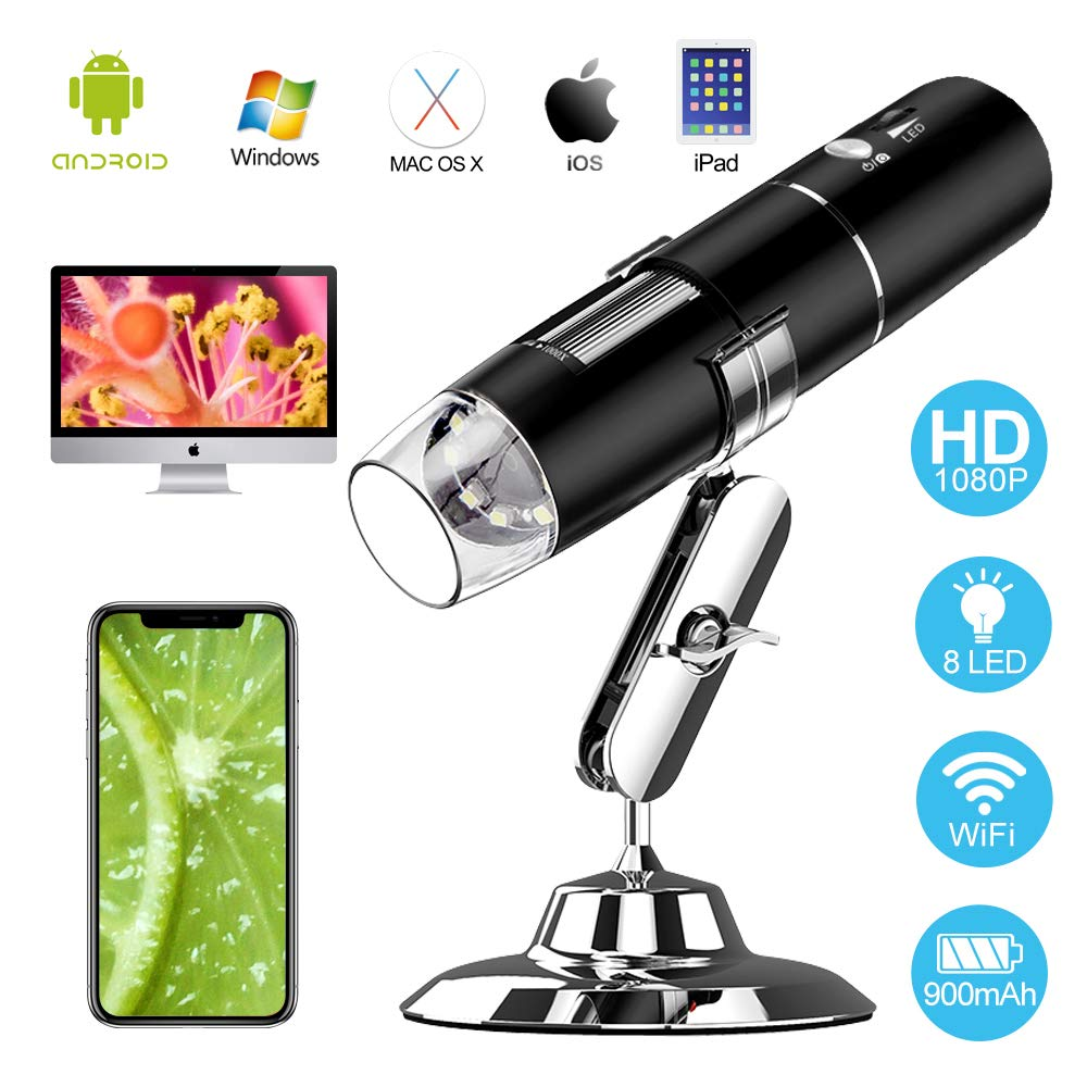 WiFi Digital USB Microscope, Loiion Rechargeable 2MP Camera Handheld Microscope, 50x to 1000x Magnification with Metal Stand for iPhone/iPad/Samsung/Windows/Mac and Smartphones,Black by Loiion