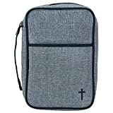 Gray and Black 7.8 x 10 Reinforced Polyester Thinline Bible Cover Case with Handle