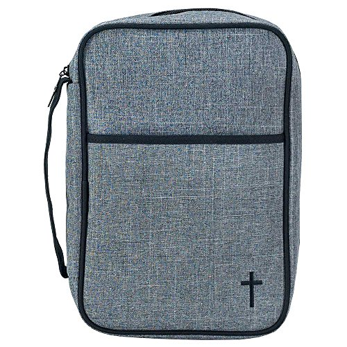 Thinline Bible Cover - Gray and Black 7.8 x 10 Reinforced Polyester Thinline Bible Cover Case with Handle
