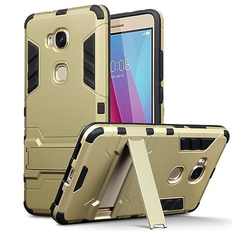 Huawei Honor 5X Carcasa Híbrida de Silicona + Polycarbonato Doble Resistencia, y soporte para mesa - Dorado
