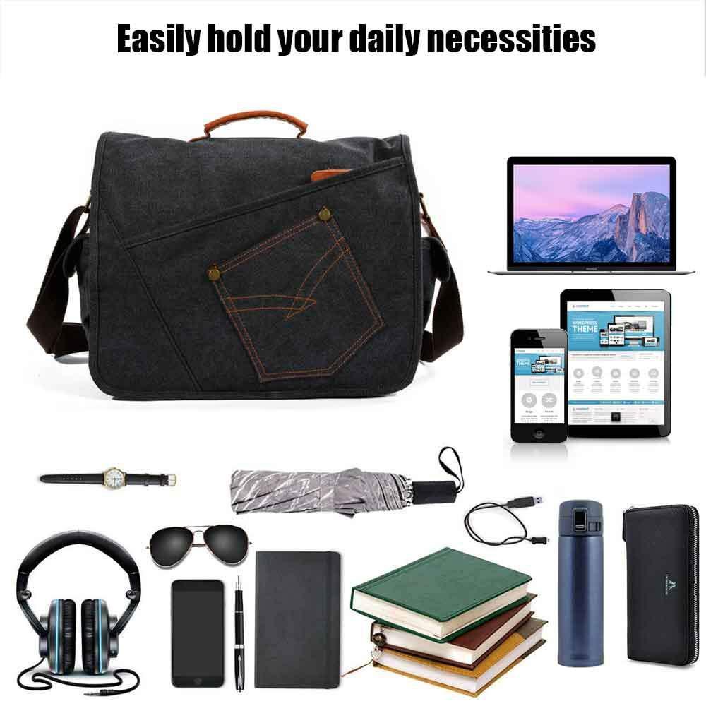 Aolvo Laptop Messager Bag Vintage Canvas Leather Business Briefcase Large Satchel Crossbody Shoulder Bags Sling Working Bag Bookbag for Men