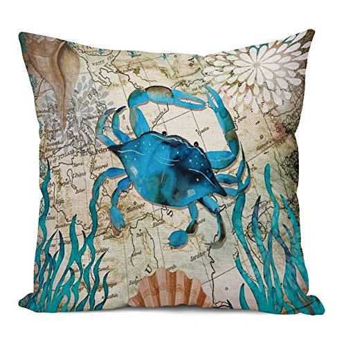 Aremazing Ocean Theme Marine Life Cotton Linen Throw Pillow Case Cushion Cover Home Office Decorative 18 X 18 Inches (Crab)