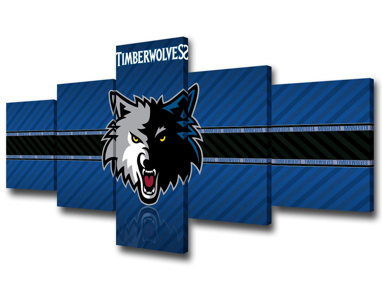 TUMOVO Native American Decor Minnesota Timberwolves Paintings Basketball Pictures 5 Piece Canvas Wall Art Modern Artwork Home Decor for Living Room Framed Stretched Ready to Hang - 50''Wx24''H by TUMOVO