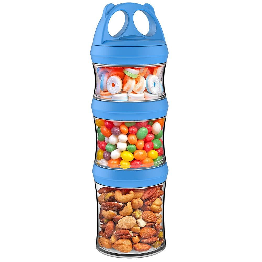 Snack Proteine in Polvere Senza BPA Blu, 827ML Articoli da Viaggio Set di 3 Pezzi Twist Lock Impilabile Besthouse Contenitori per Alimenti Contenitori per Conservare Latte
