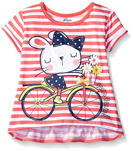 Gerber Graduates Girls Short Sleeve Swing Top with Back Ruffle, Bicycle Kitty, 12 Months