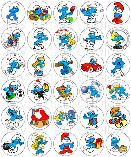 30 x Edible Cupcake Toppers - Smurfs Classic Cartoon Party Collection of Edible Cake Decorations | Uncut Edible Prints on Wafer Sheet (Cake Smurf)