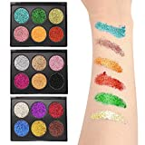MS.DEAR Glitter Eyeshadow Pallet, 18 Colors Shimmer Eyeshadow Powder, Waterproof & Long-Lasting, for Party Festival Eyeshadow, Makeup, Nail Art, Body Tattoos