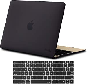 Kuzy MacBook 12 inch Case and Keyboard Cover for Model A1534 with Retina Display Soft Touch Hard Cover Shell - New Version - Black