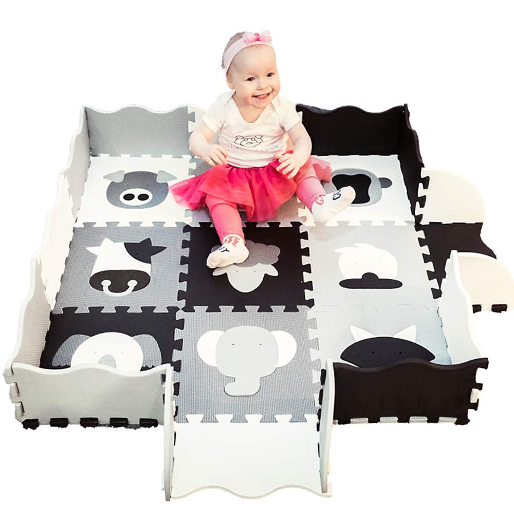 Play Mat for Babies with Fence | 22 pieces Extra Thick | Puzzle Play Foam Tiles | Crawl Mat with carry bag. Black White Grey Animals. Modern Nursery Design, Tummy Time, Safe Exercise for kids Playroom