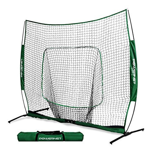 PowerNet 7x7 PRO Net with One Piece Frame (Green) | Baseball Softball Practice Net | Training Aid for Hitting Pitching Batting Fielding Portable Backstop | Bow Style Frame | Non-Tip Weighted Base