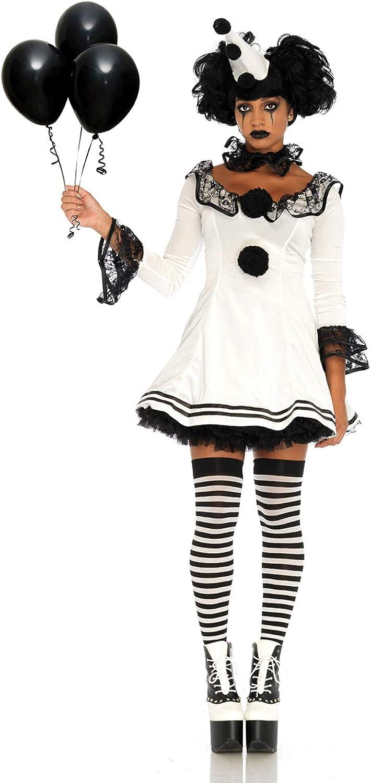 Details about  /Leg Avenue Women/'s Black and White Sad Pierrot Clown Costume