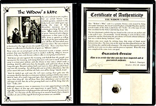 Widows Mite Bronze Coin - 1 IL Ancient Widow's Mite Christian Coin . of King Janeaus, Bronze Lepton,Album,Story& Certificate. 20mm Very Good