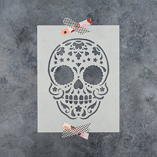 Sugar Skull Starry Stencil Template for Walls and Crafts - Reusable Stencils for Painting in Small & Large Sizes