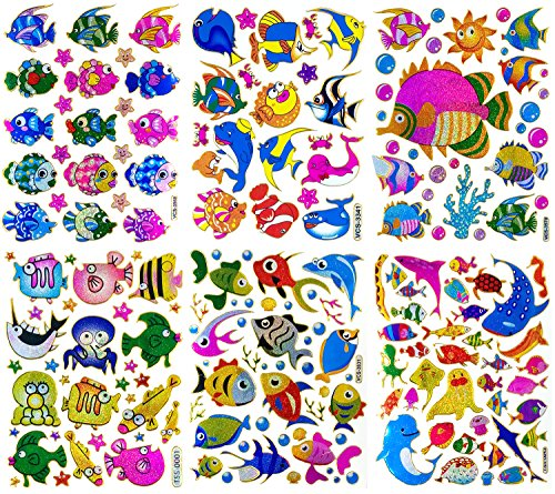 Fish006 - 6 Sheets of Scrapbook Stickers Fish, Fish Scrapbook Stickers, Farm Animal Stickers - Animal Scrapbook Stickers - Reflective Stickers - Animal Stickers for Kids - Size 4 X 5.25 Inch./sheet