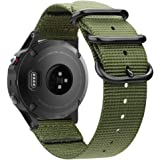 Fintie for Garmin Fenix 6 5 Band, Soft Woven Nylon Sport Strap Wristband for Garmin Fenix 6 Pro and Sapphire Edition/Fenix 5 / Forerunner 935 945 / Instinct Smart Watch, Olive