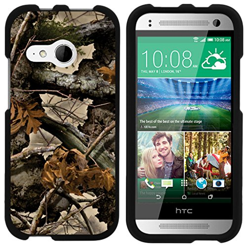 ible for HTC One M8 Mini Case | One Mini 2 | One Remix [Slim Duo] Two Piece Hard Cover Slim Snap On Case on Black - Tree Leaves Camouflage ()