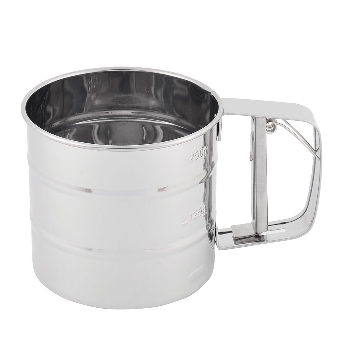 uxcell Metal Baking Trigger Handle Flour Sugar Mesh Sifter Shaker Silver Tone a16030800ux1142