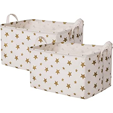 SHINYTIME Canvas Storage Baskets Bins Star Style Laundry Baskets Room Organizer for Kids Pets Toy Home Laundry Room Closet (Star-2pcs)