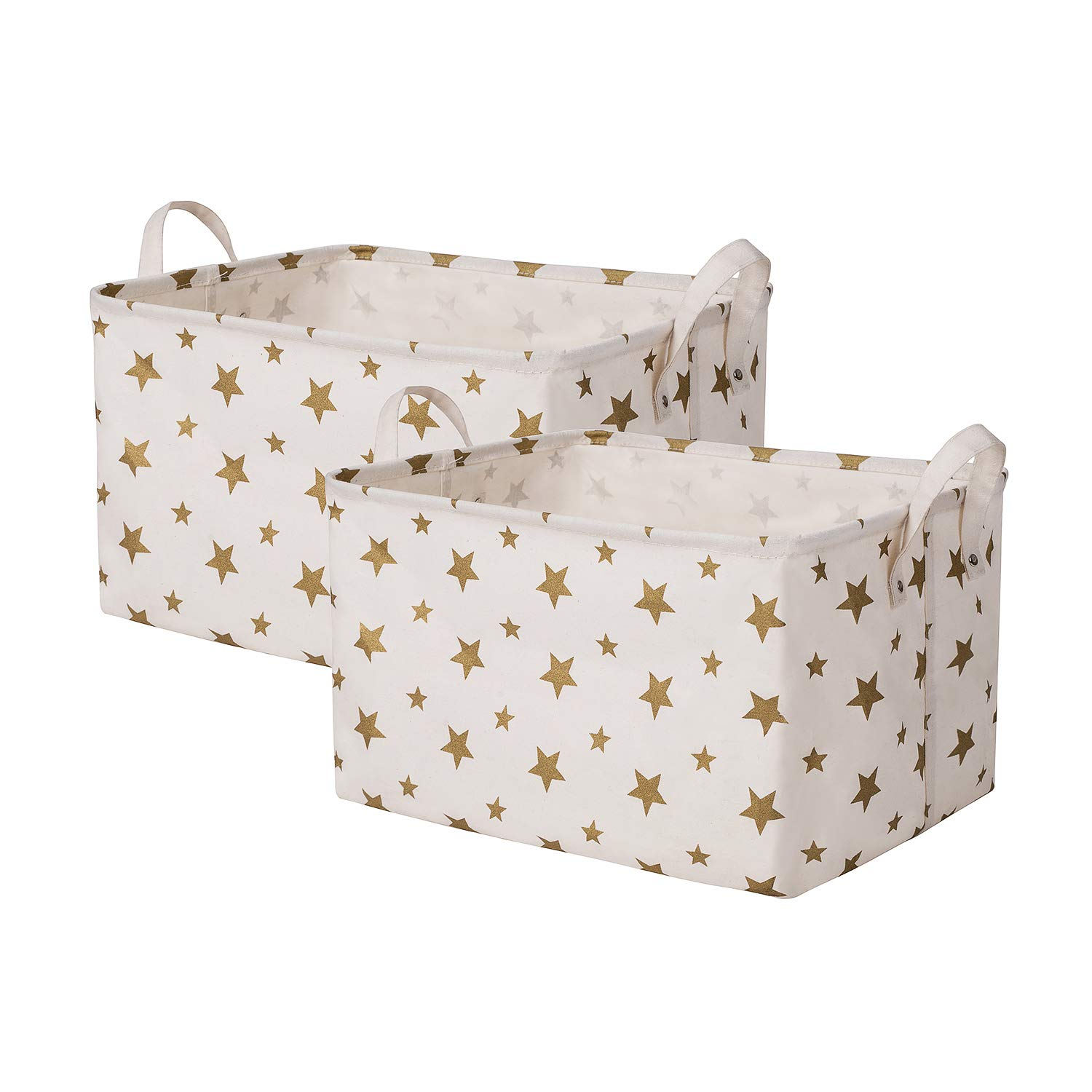 SHINYTIME Canvas Storage Baskets Bins Star Style Laundry Baskets Room Organizer for Kids Pets Toy Home Laundry Room Closet (Star-2pcs) by SHINYTIME