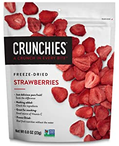 Crunchies Freeze-Dried Strawberries, 100% All Natural Crispy Snacks, Gluten Free & Vegan, 0.8 Ounce (6 Pack)