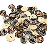 Polytree 50Pcs 2 Holes Retro Style Wood Buttons Sewing Craft DIY Scrapbook - Teacup