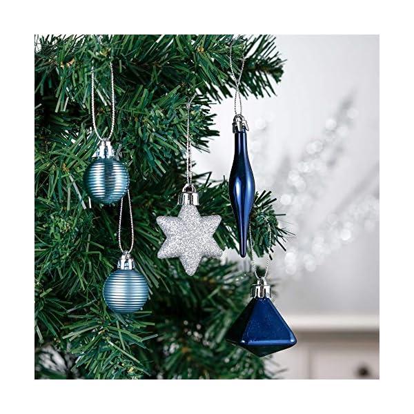 Valery Madelyn Palle di Natale 45 Pezzi di Palline di Natale, 3-4 cm Auguri Invernali Argento e Blu Infrangibili Ornamenti Palla di Natale Decorazione per la Decorazione Dell'Albero di Natale 5 spesavip