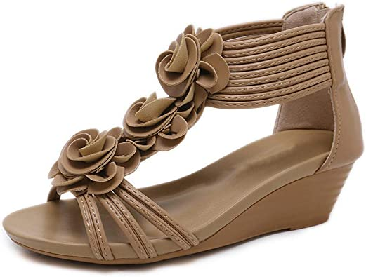 Fashion Women Sandals Summer Shoes Flower Wedges with Buckle Girl Roman Sandal
