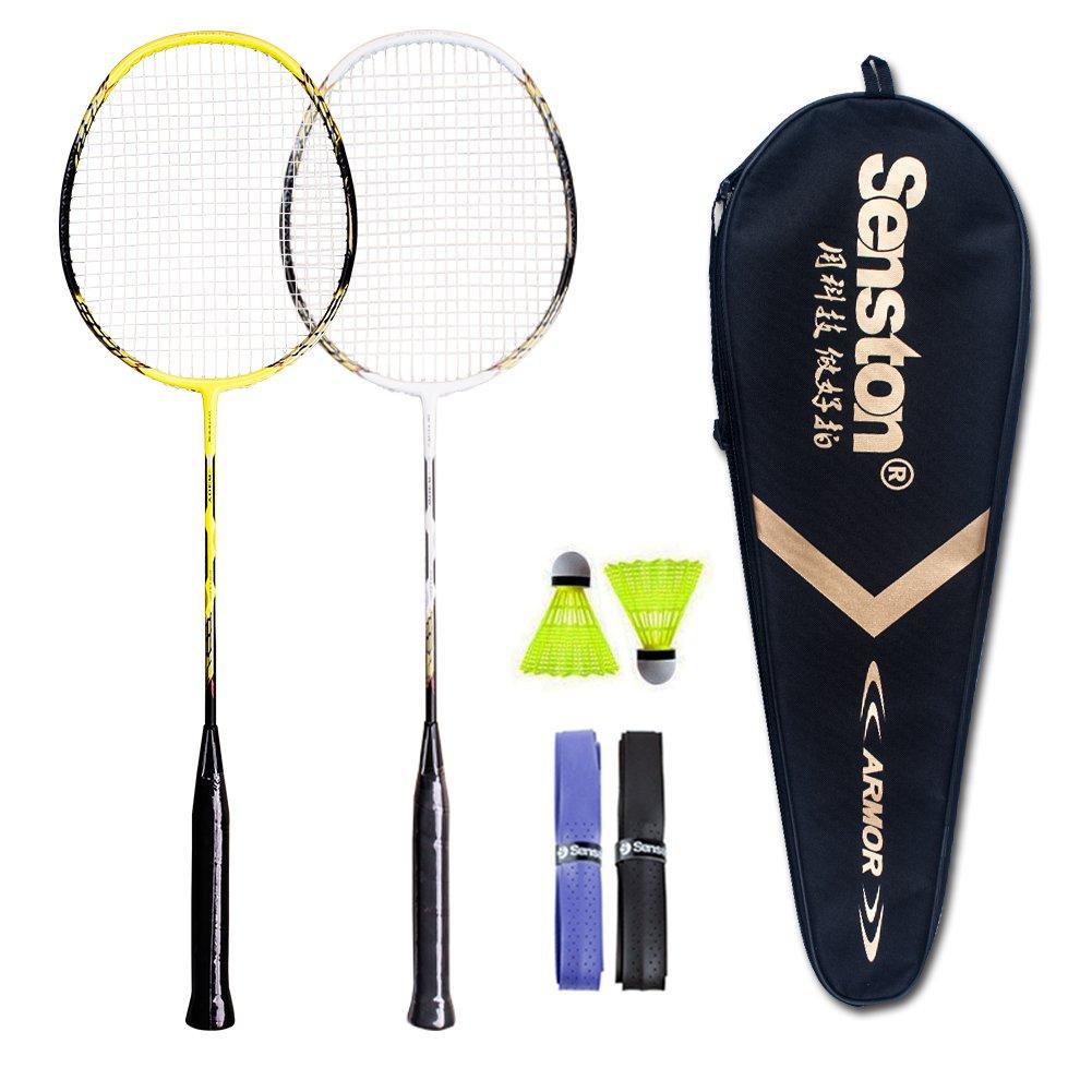 Senston - 2 Player Badminton Racket Set Double Rackets Carbon Fiber Shaft Racquets Badminton Set - Including 2 Badminton,2 overgrip,1 Badminton Bag