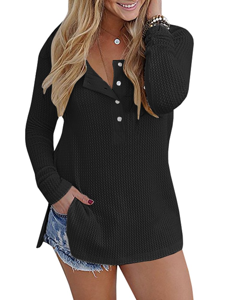Pretifeel Womens Long Sleeve Knit Tunic Blouse Henley Shirts Split Side Sweater with Button Details