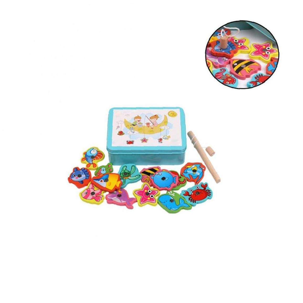 Fishing Game Toys Set Magnetic Fishing Game Toddle Toys 15 Fishes With 1 Fishing Rod Wooden Box Toy For Kids Blue Iron Box