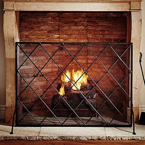 暖炉ガード 黒の足で暖炉スクリーン、単一のパネルスパークガード安全サラウンドスパークメッシュが透けて見える、鍛鉄フレーム