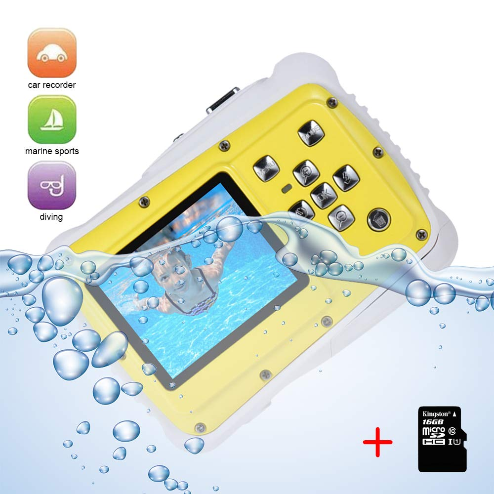 L8star Kids Digital Camera,3M IP68 Waterproof Camera, Underwater Digital Action Camera Kids, 2.0 Inch LCD Display,16G TF Card Include,8X Digital Zoom, Flash and Mic for Boys Girls Gift Toys