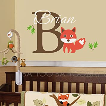 Battoo name wall decal custom name vinyl wall art decal sticker fox animal custom decals