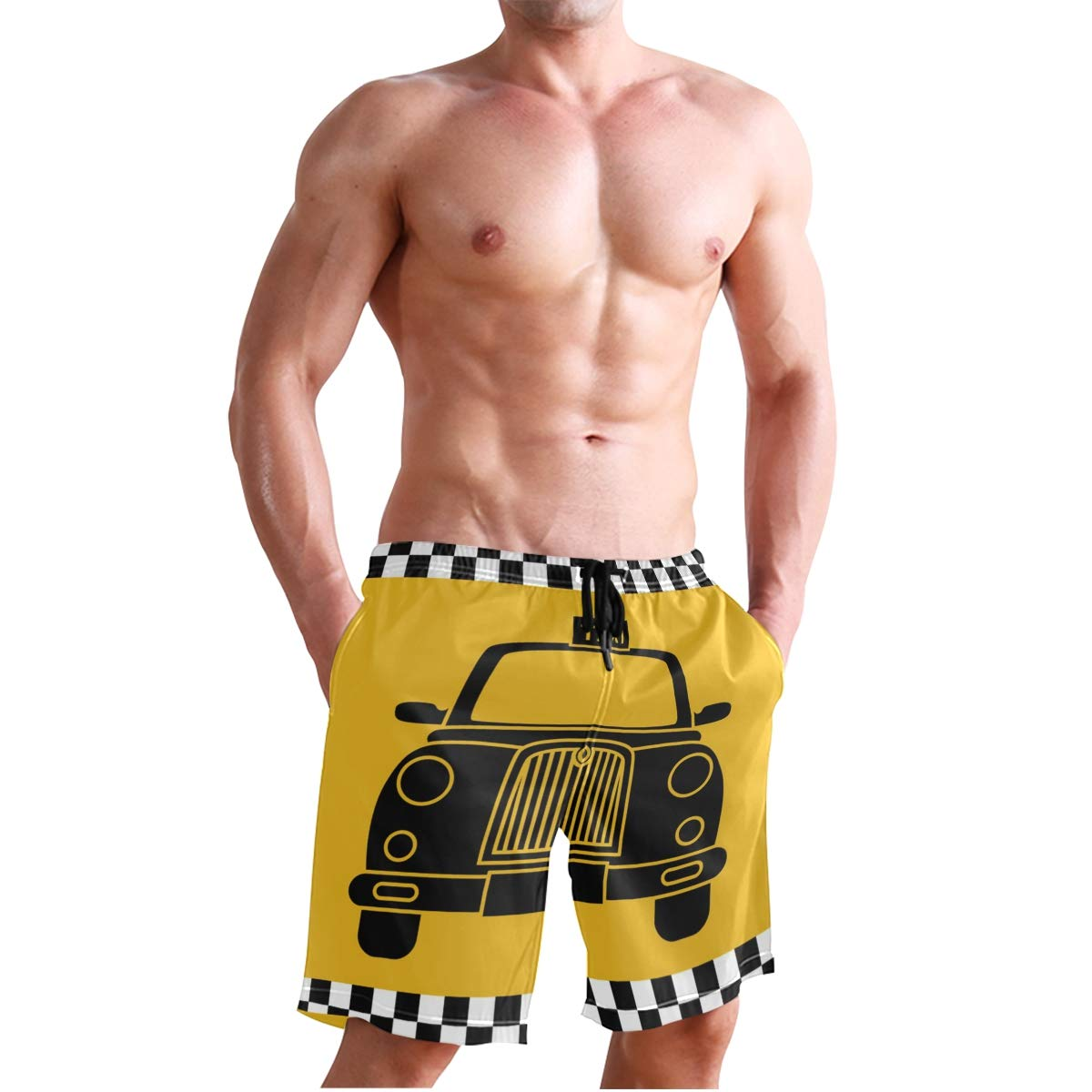 JERECY Mens Swim Trunks Retro Taxi Design Quick Dry Board Shorts with Drawstring and Pockets
