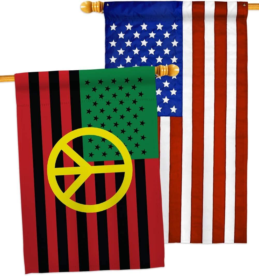 Amazon Com African American Peace House Flag Pack Patriotic Historic July Memorial Veteran Independence United State Usa Applique Decoration Banner Small Garden Yard Gift Double Sided Made In 28 X 40