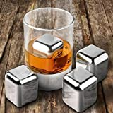 HSS Set Of 8 Reusable Stainless Steel Ice Cubes For Whiskey Wine Beverage With Tongs/Pincers;Non Toxic, Easy To Wash And Very Durable