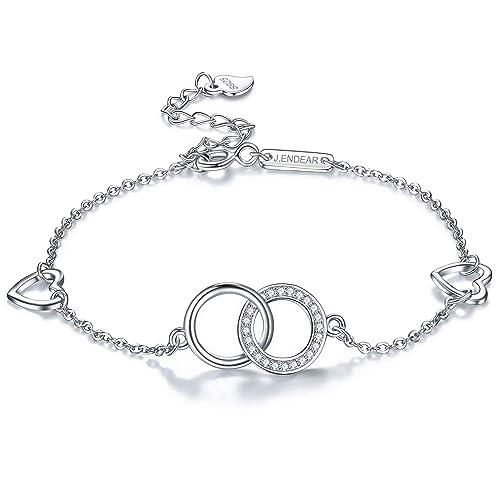 fe52b6c6989cd8 J.Endéar Bracciale cavigliera per donna Bracciale regolabile in argento  sterling 925 con simbolo d