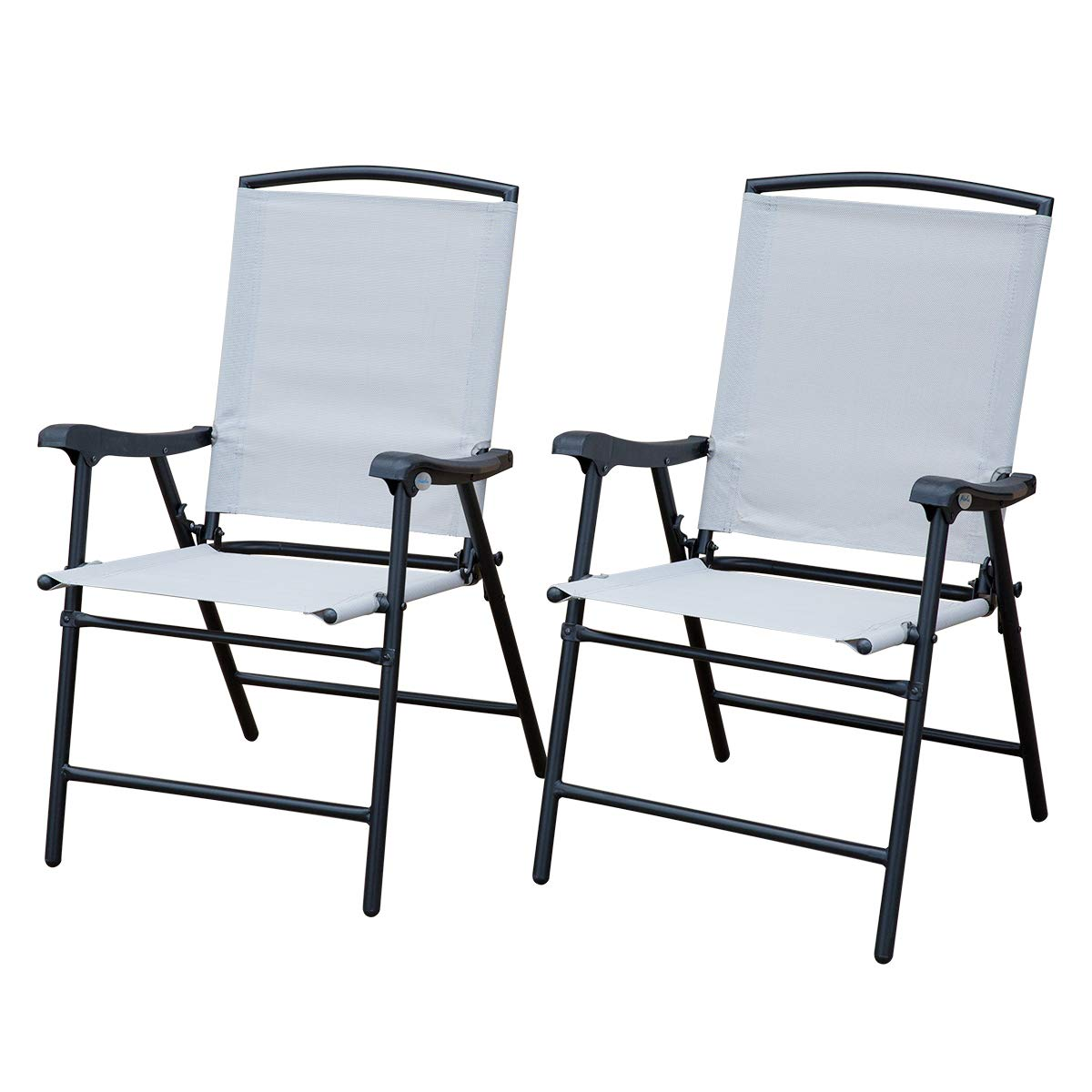 SunLife Outdoor Folding Lawn Chairs with Steel Frame, Portable for Lawn, Garden, Patio, Beach, Set of 2, Black Frame, Beige Fabric