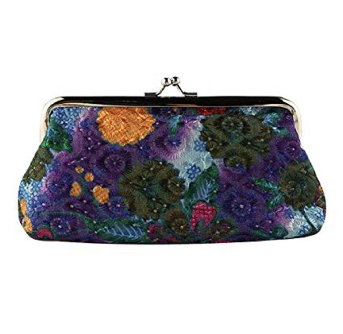 Colorido Retro Women Flower Cash Change Coin Purse Wallet Clutch Handbag Card Key Holder size Medium (Purple)