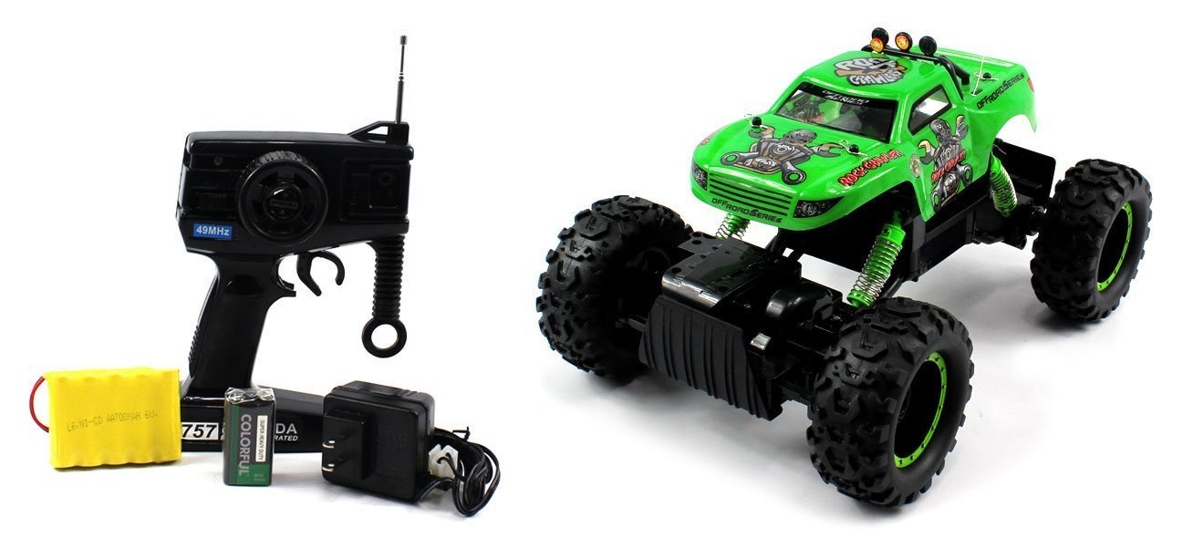 King Crawler Electric RC Truck Off Road 4WD 10+ MPH 1:12 RTR (Green) Crawls Over Rocks and Objects, Premium Off Road Performance