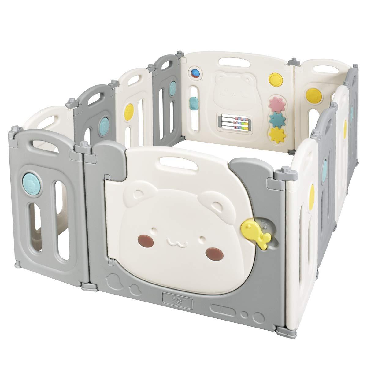 COSTWAY Parque Infantil Beb/é con 12 Paneles Plegable Centro de Actividad para Ni/ños Barrera de Seguridad con Puerta Valla de Juego