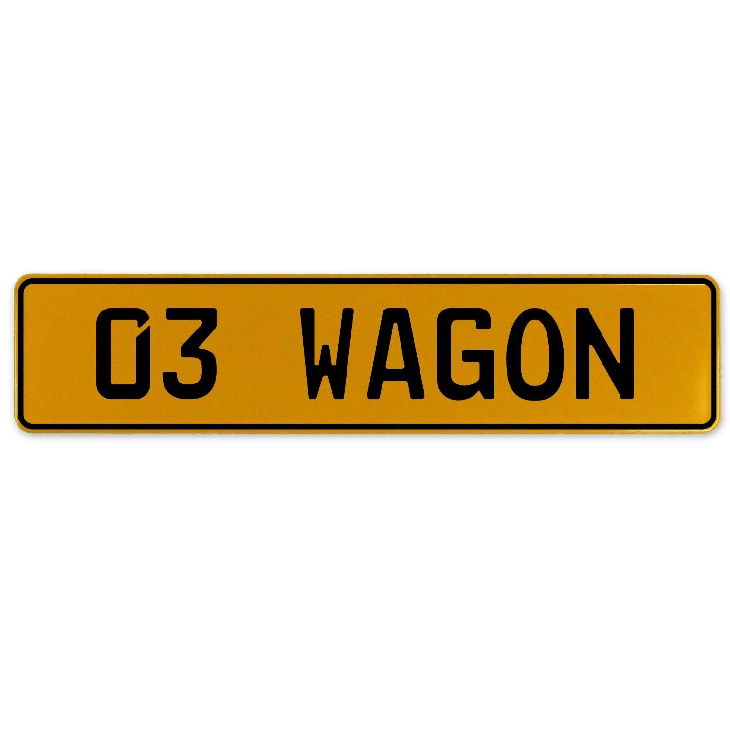 Vintage Parts 563214 03 Wagon Yellow Stamped Aluminum European Plate