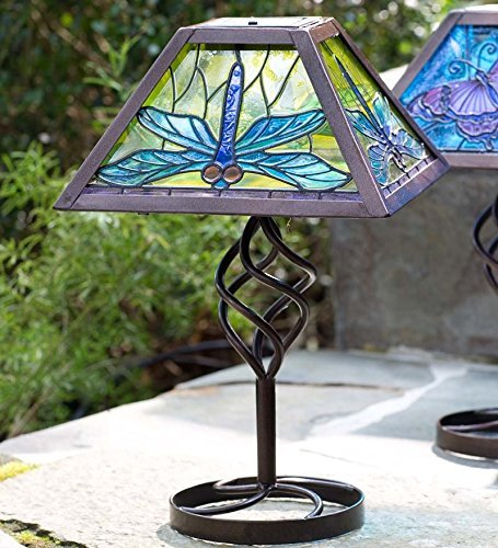 - Plow & Hearth 53993-DRA Tiffany Style Outdoor Table Lamp, Dragonfly