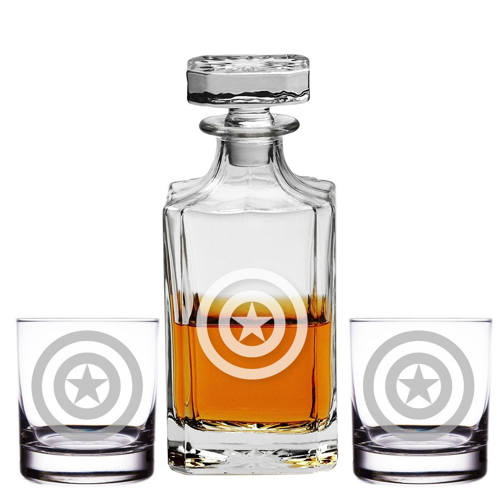 Abby Smith, Captain America Engraved Decanter and Rocks Glasses, Set of 3