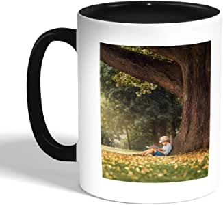 Reading in nature Printed Coffee Mug, Black
