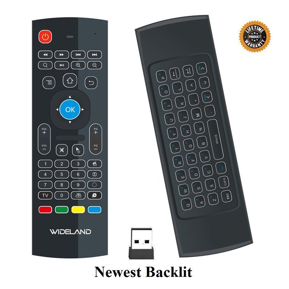 WIDELAND Backlit Air Remote Control, 2.4G Mini Wireless Keyboard Mouse, infrared Remote Control Learning for Kodi Android TV Box IPTV HTPC Mini PC Pad XBOX Raspberry pi 3 and Other Devices
