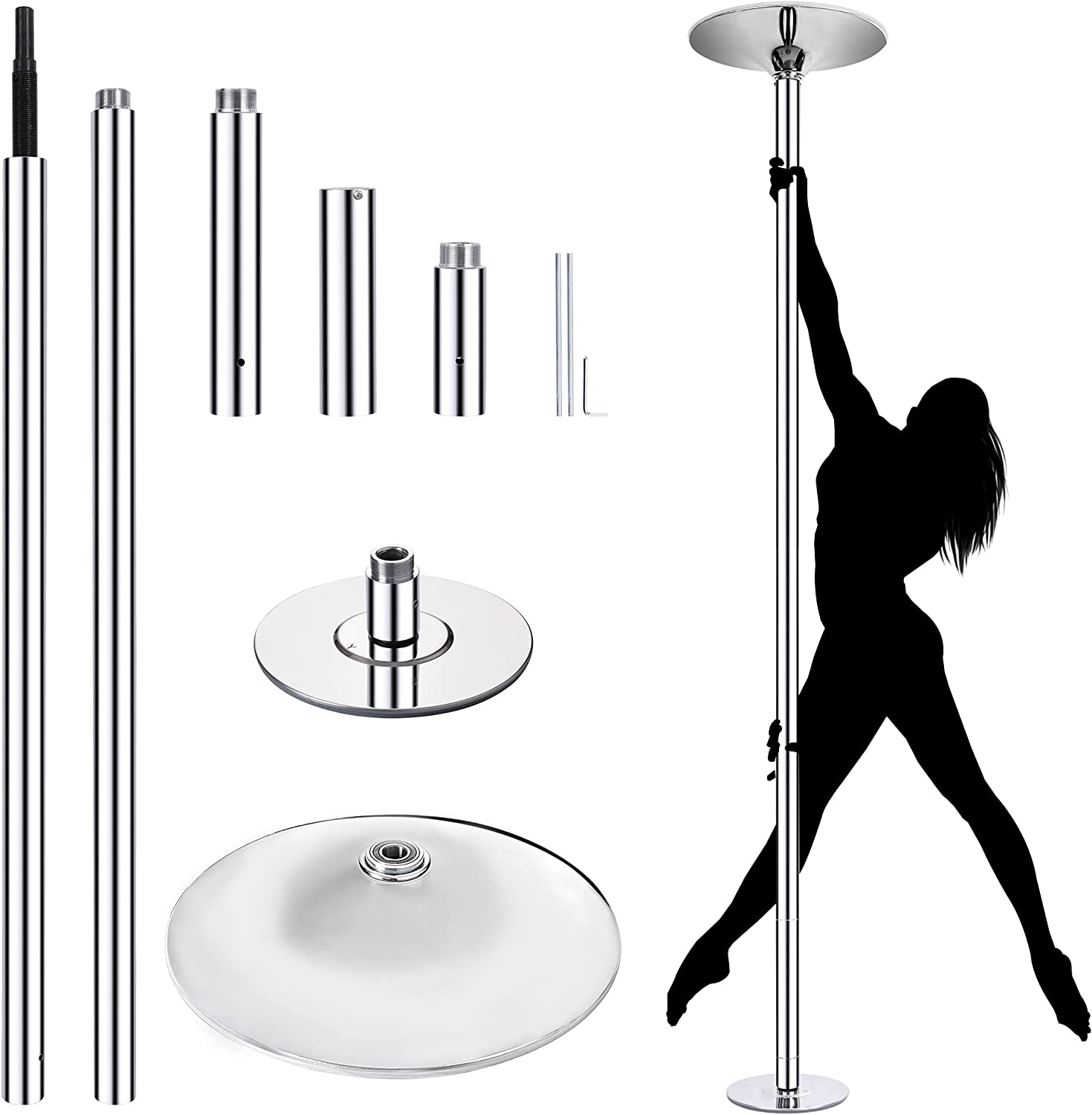 Trigoo Portable Spinning Stripper Dance Pole for Home Gym Party Pub Fitness