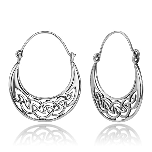 1c29b3bba Amazon.com: 925 Oxidized Sterling Silver Open Celtic Knot Symbol Half Moon  Hinged Hoop Earrings 1.2