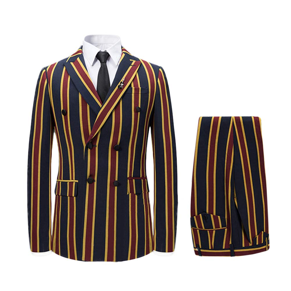 Men's Colored Striped 3 Piece Suit Slim Fit Tuxedo Blazer Jacket Pants Vest Set