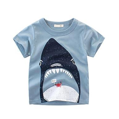 Motteecity Trendy Boys Clothes Cartoon Adorable Animal Style Summer Casual  T-Shirt (2T e24224c317